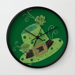 Luck of the Irish leprechaun's hat Wall Clock