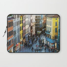 View from the top of via XX Settembre a Bergamo in cartoon style Laptop Sleeve