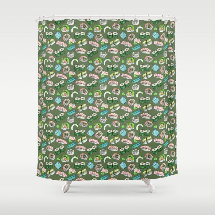 Sushi Yum In Olive Shower Curtain By Mwashburnart