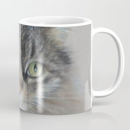 Tabby cat Maine Coon portrait Pastel drawing on the grey background Coffee Mug