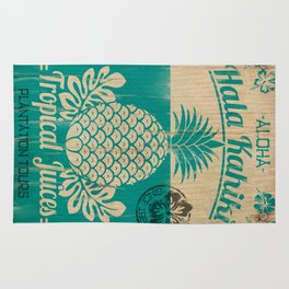 Hala Kahiki Juice Stand wooden board. Rug