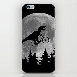 Biker t rex In Sky With Moon 80s Parody iPhone Skin