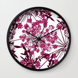 Laced crimson flowers on a white background. Wall Clock