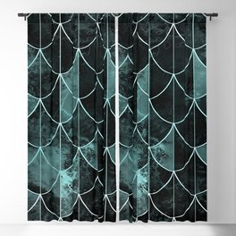 Mermaid scales. Mint and black. Blackout Curtain