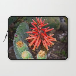 Cactus-Wrapped Flaming Firecraker Flower Laptop Sleeve