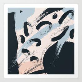 Modern abstract black ivory blush blue brushstrokes Art Print