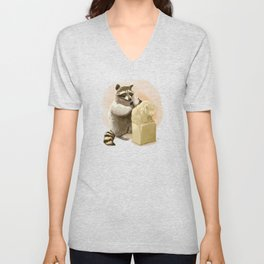 Raccoon in Pursuit of Perfection Unisex V-Neck