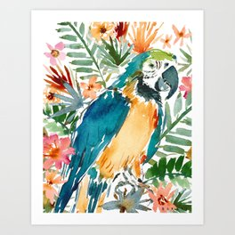 MURDOCH THE BLUE AND GOLD MACAW Art Print
