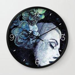 Obey Me: Blue (graffiti flower woman portrait) Wall Clock