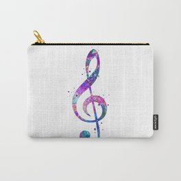 Treble Clef Sign Watercolor Print Blue Purple Wall Art Poster Music Poster Carry-All Pouch