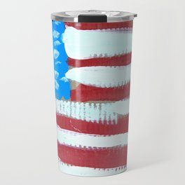 oh, America - naive acrylic painting in red, white and blue by Travel Mug