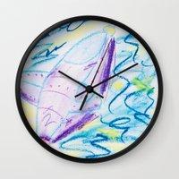 spaceship Wall Clocks featuring Spaceship by SorinaBogiu