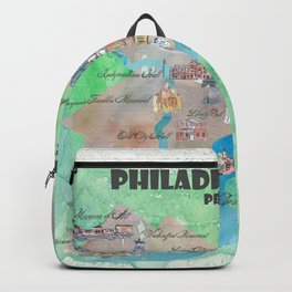 Philadelphia Pennsylvania Fine Art Print Retro Vintage Map with Touristic Highlights Backpack
