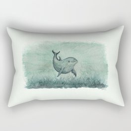 """Notches"" by Amber Marine ~ Indian River Lagoon dolphin art, watercolor painting, (Copyright 2013) Rectangular Pillow"