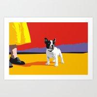 boston terrier Art Prints featuring Boston terrier by Matt Mawson