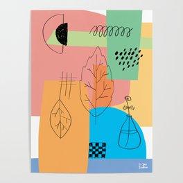 Floral Seasons Illustration Digital Collage Poster