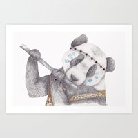 hippy Art Prints featuring Hippy Panda. by Brionyjoseillustrations