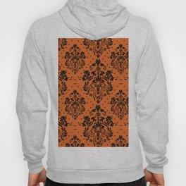 Vintage black orange halloween floral damask Hoody