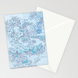 """Alphonse Mucha """"Anemones, Apple Blossoms and Narcissi"""" (edited blue) Stationery Cards"""