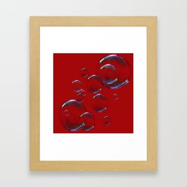 IRIDESCENT SOAP BUBBLES  ON  DARK RED COLOR Framed Art Print