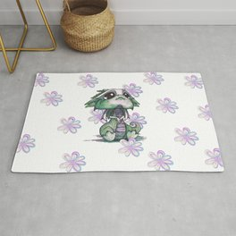 Baby Dragon with Flowers Rug