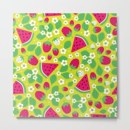 Summer Strawberries & Watermelon Metal Print