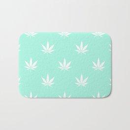 Turquoise Mermaid Mint Cannabis Pot Leaf Pattern Bath Mat