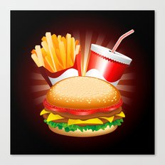 Fast Food Hamburger Fries and Drink Canvas Print