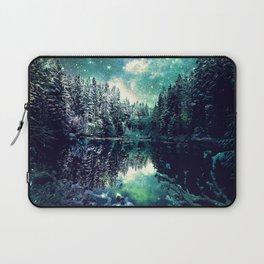 A Cold Winter's Night : Spearmint Teal Green Winter Wonderland Laptop Sleeve