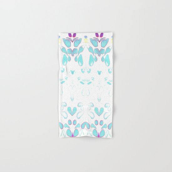 Summer Vibes, Blue and Purple Neon Leaves Hand & Bath Towel