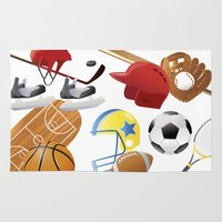 sports Area & Throw Rugs featuring sports! by Dues Creatius