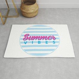 Summer Vibes, Summer poster, Summer T-Shirt, circle blue stripes Rug