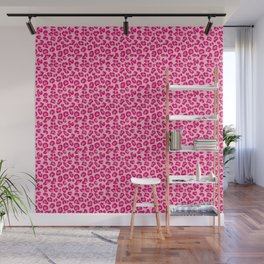 Leopard Print in Pastel Pink, Hot Pink and Fuchsia Wall Mural