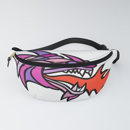 Mosaic Mythical Dragon Breathing Fire Mascot Fanny Pack