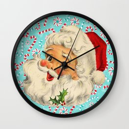 Sweet Vintage Santa with Candy Canes Wall Clock