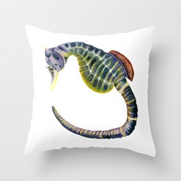 Big-bellied seahorse watercolour painting Throw Pillow