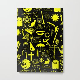 Buffy Symbology, Yellow Metal Print
