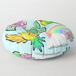 Birds Flowers and Rainbows Doodle Pattern Floor Pillow