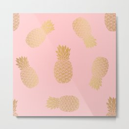 Pink and Gold Pineapple Pattern Metal Print