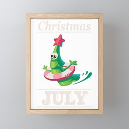 Merry Christmas in July Summer \ Fir-tree on vacation  Framed Mini Art Print