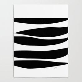 Irregular Stripes Black White Waves Art Design Poster
