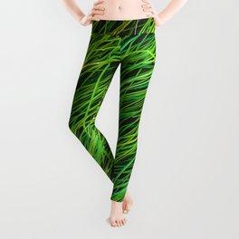 closeup green grass field texture background Leggings