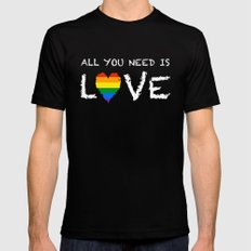 ALL YOU NEED Black SMALL Mens Fitted Tee
