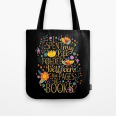 Folded Between the Pages of Books - Floral Black Tote Bag