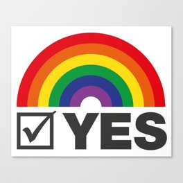 Vote Yes! - Rainbow Tick Canvas Print