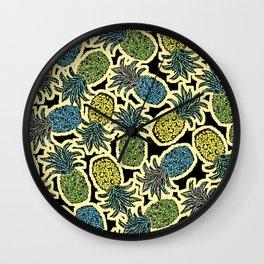 Pineapple Pandemonium - Retro Tones Wall Clock