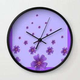 RAINING PURPLE FLOWERS LILAC COLLAGE ART Wall Clock