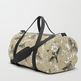 Flowers and Flight in Monochrome Golden Tan Duffle Bag