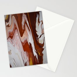 Red Burgundy Fluid Liquid Marble Flow Painting - Lava Flow II Stationery Cards