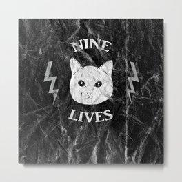 Nine Lives Black Background Metal Print